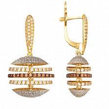 Золотые серьги с кристаллами циркония Карамболь