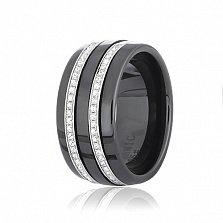 Кольцо из керамики Алвард с серебром и фианитами