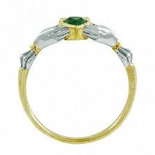 Кладдахское кольцо из комбинированного золота Царство любви с синтезированным изумрудом