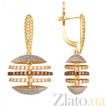 Золотые серьги с кристаллами циркония Карамболь VLT--ТТ2221-3