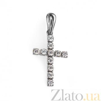 Золотой крестик в белом цвете с бриллиантами Вера P 0366/бел