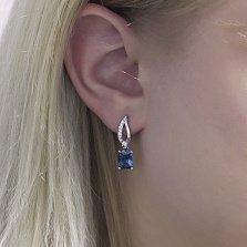 Серебряные серьги-подвески Агафия с голубым кварцем и фианитами