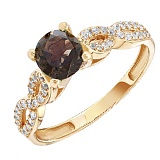 Золотое кольцо Шаиста с раухтопазом и фианитами