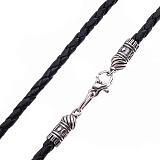 Кожаный плетеный шнурок Стабильность с серебряной узорной застежкой