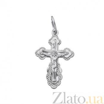 Серебряный крестик с алмазной насечкой Крестильный HUF--311139-Р