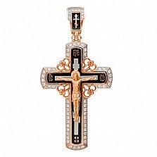 Крест Спасение Души в красном золоте с фианитами