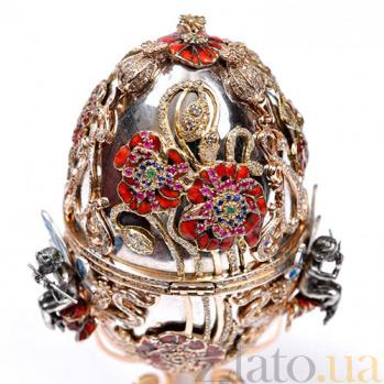 Серебряная композиция Лягушонок в яйце 11112