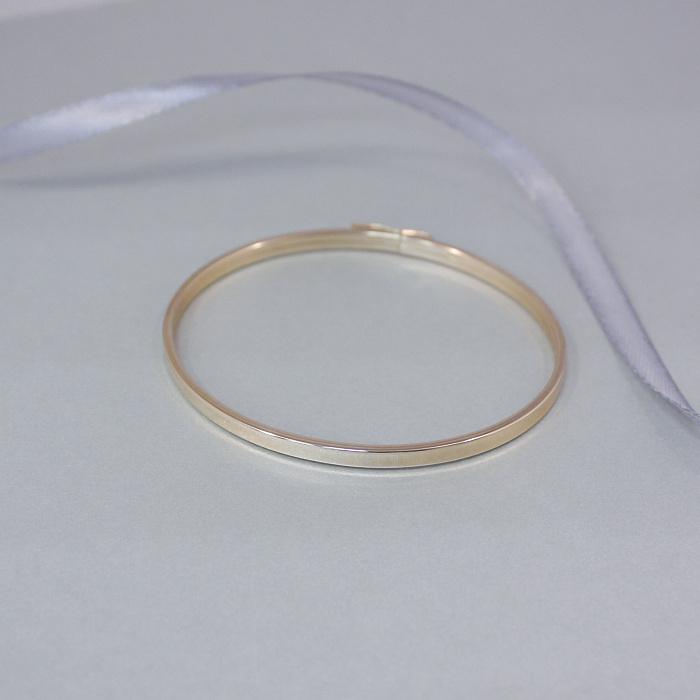 Жесткий браслет Совершенный минимализм в красном золоте, 3,5мм 000095886