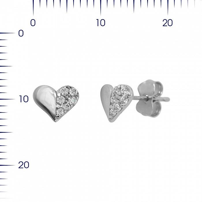 Серьги-пуссеты из белого золота Сердечки с фианитами 000081433