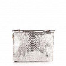 Кожаный клатч Genuine Leather 1606 серебристого цвета под кожу рептилии с короткой ручкой