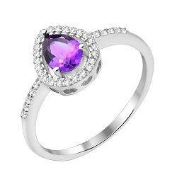 Серебряное кольцо с аметистом и фианитами 000103072