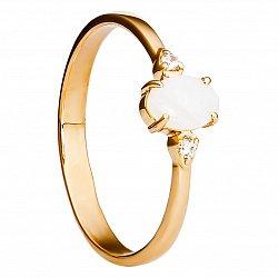 Золотое кольцо Юность с опалом и фианитами
