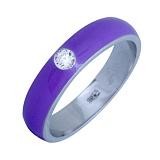 Золотое кольцо Пастель с фианитом и эмалью цвета лаванды