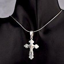 Серебряный крестик Свет милосердия с белой эмалью