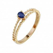 Золотое кольцо с сапфиром Тиффани