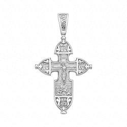 Серебряный крестик Святые небеса лаконичной резной формы
