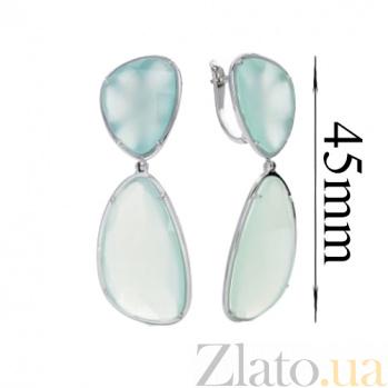 Серебряные серьги с халцедоном Нежность акварели SG--2707683005253