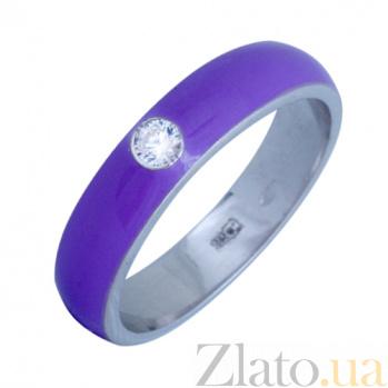 Золотое кольцо Пастель с фианитом и эмалью цвета лаванды К220бел/лав