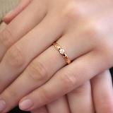 Кольцо из красного золота Единство с фианитом
