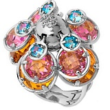 Серебряное кольцо Монпансье с фианитами