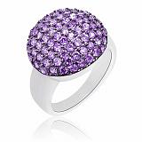 Серебряное кольцо Ангелина Violet с камнями Swarovski