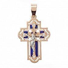 Золотой крест со вставками лазурита и циркония Небесный хранитель