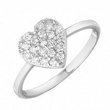 Золотое кольцо Сердечко в белом цвете в усыпке фианитов
