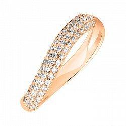Кольцо из красного золота с фианитами 000004206