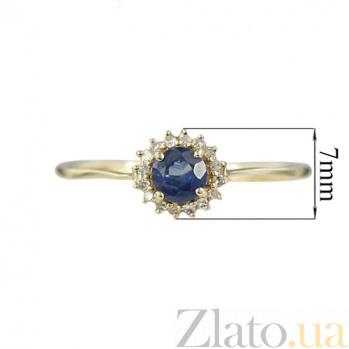 Золотое кольцо с сапфиром и бриллиантами Магия лета 000026860