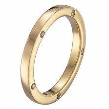 Обручальное кольцо Мир в желтом золоте с бриллиантами