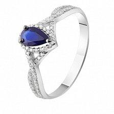 Золотое кольцо с бриллиантами и сапфиром Атланта