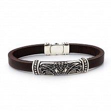 Кожаный браслет с серебром Легенда с чернением