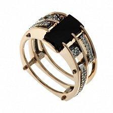 Перстень в красном золоте Северный ветер с агатом и фианитами