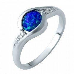 Серебряное кольцо с дорожками фианитов и завальцованным синим опалом 000074327