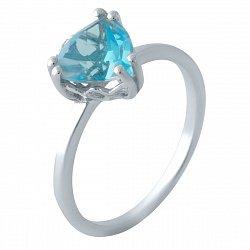 Серебряное кольцо с синтезированным аквамарином и родированием 000128874