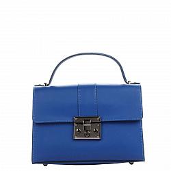 Кожаная деловая сумка Genuine Leather 8644 синего цвета с клапаном на механическом замке