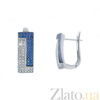 Серебряные серьги с усыпкой цирконов Сходство AQA--KHE-0025-1s