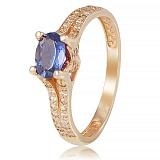 Золотое кольцо Хармони с иолитом и фианитами