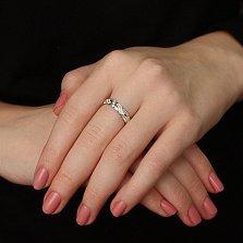 Обручальное кольцо Орио в белом цвете с бриллиантами и эмалью