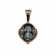 Серебряная черненая ладанка Ангел-Хранитель в позолоте с молитвой