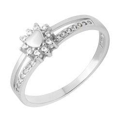 Серебряное кольцо с раздвоенной шинкой и фианитами 000118379