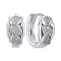 Срібні сережки-конго з цирконієм 000144856