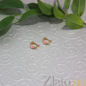 Детские золотые серьги Цветочки с цветной эмалью ONX--с02315
