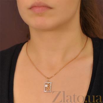 Золотой кулон Лувр с жемчужиной и фианитами EDM--П0176