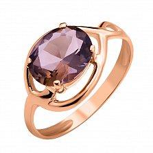 Золотое кольцо Скарлетт в красном цвете с раухтопазом