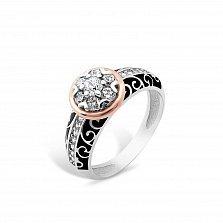 Серебряное кольцо Гортензия с золотой накладкой, фианитами, черной эмалью и родием