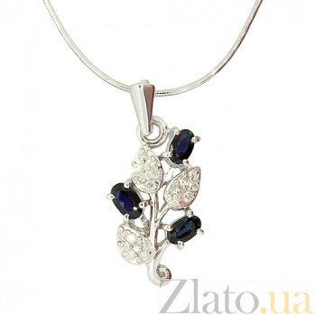 Серебряная подвеска с сапфирами и бриллиантами Валенсия 000027310