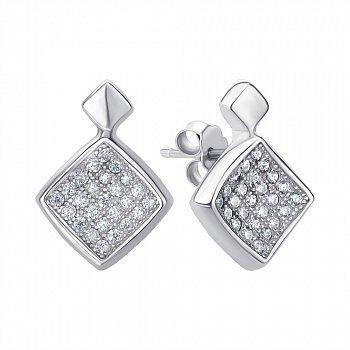 Серьги-пуссеты из серебра с кубическим цирконием 000144842