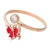 Золотое кольцо с фианитом и цветной эмалью Бабочка