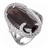 Серебряное кольцо с раухтопазом и фианитами Изысканность
